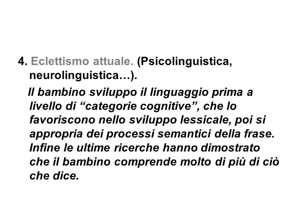 4. Eclettismo attuale. (Psicolinguistica, neurolinguistica…).