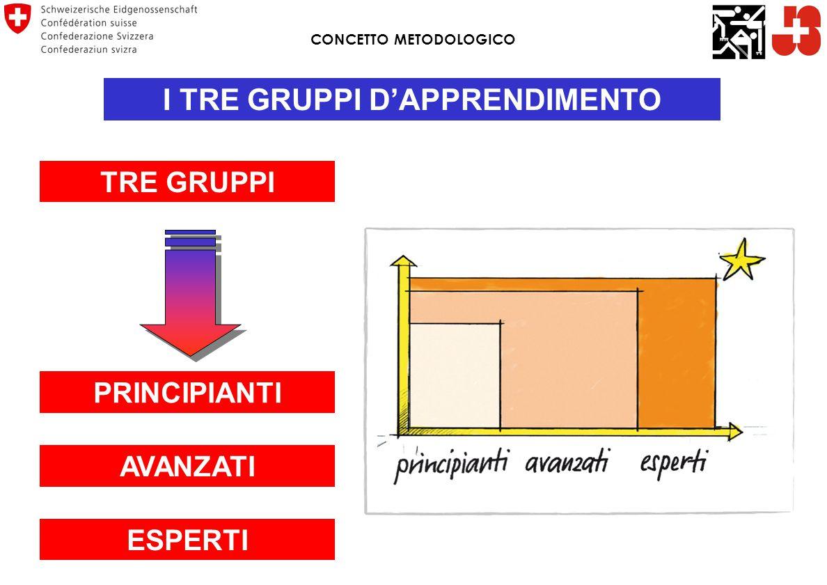 CONCETTO METODOLOGICO I TRE GRUPPI D'APPRENDIMENTO