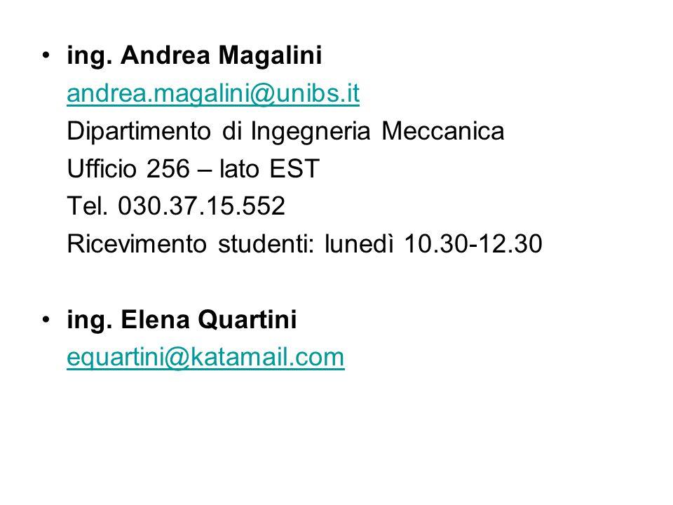 ing. Andrea Magalini andrea.magalini@unibs.it. Dipartimento di Ingegneria Meccanica. Ufficio 256 – lato EST.