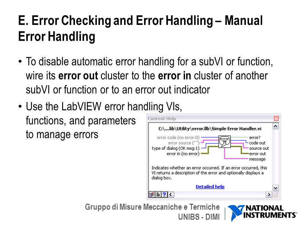 E. Error Checking and Error Handling – Manual Error Handling