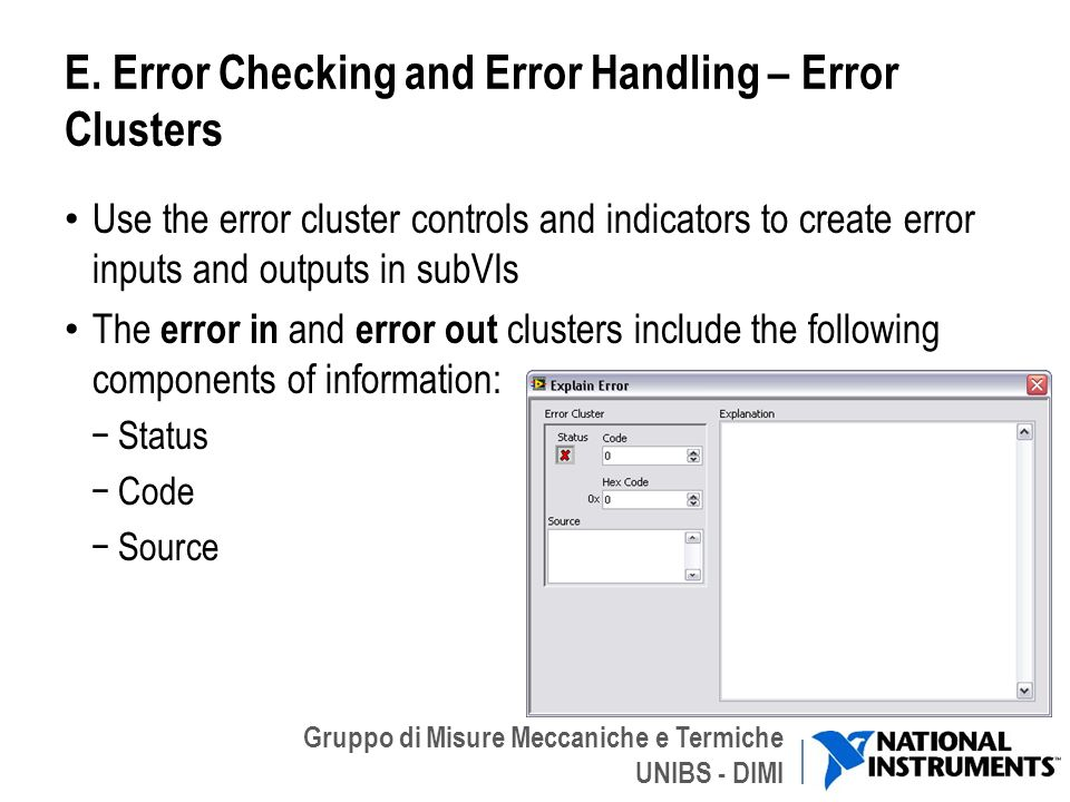 E. Error Checking and Error Handling – Error Clusters