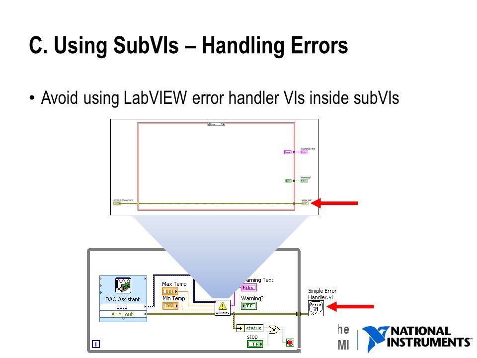 C. Using SubVIs – Handling Errors