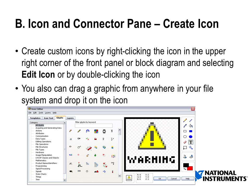B. Icon and Connector Pane – Create Icon