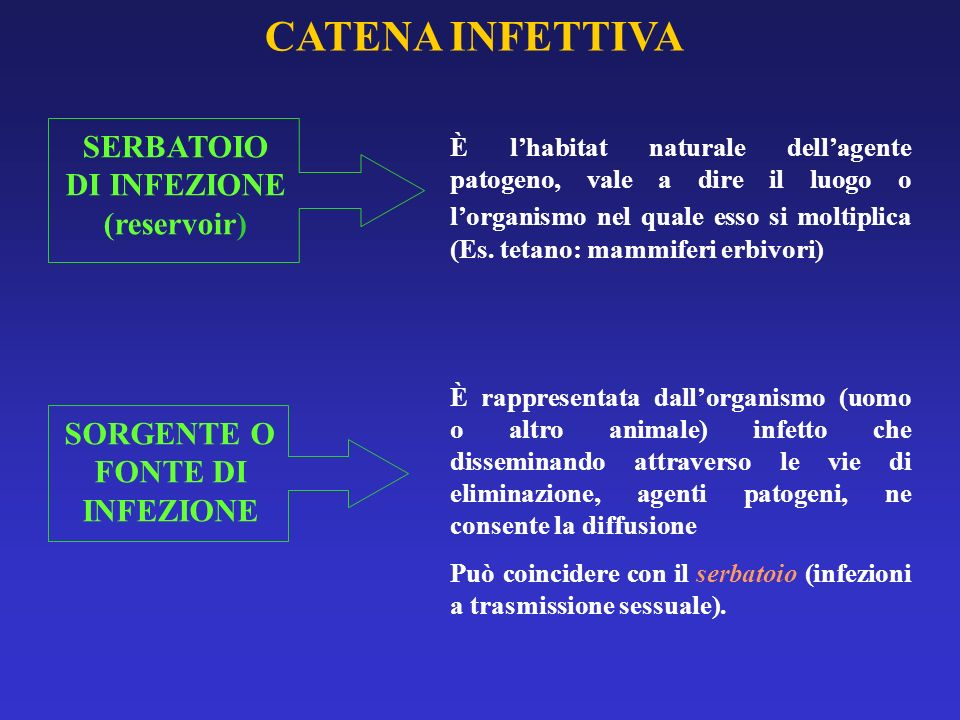 SERBATOIO DI INFEZIONE (reservoir) SORGENTE O FONTE DI INFEZIONE