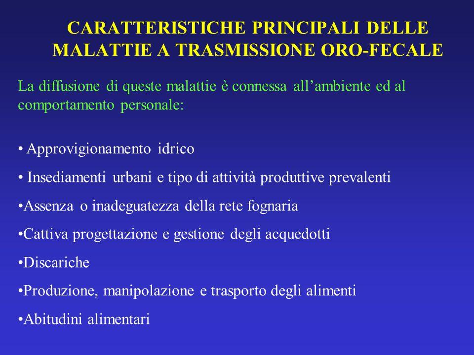 CARATTERISTICHE PRINCIPALI DELLE MALATTIE A TRASMISSIONE ORO-FECALE