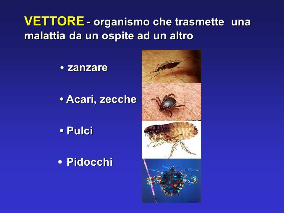 VETTORE - organismo che trasmette una malattia da un ospite ad un altro