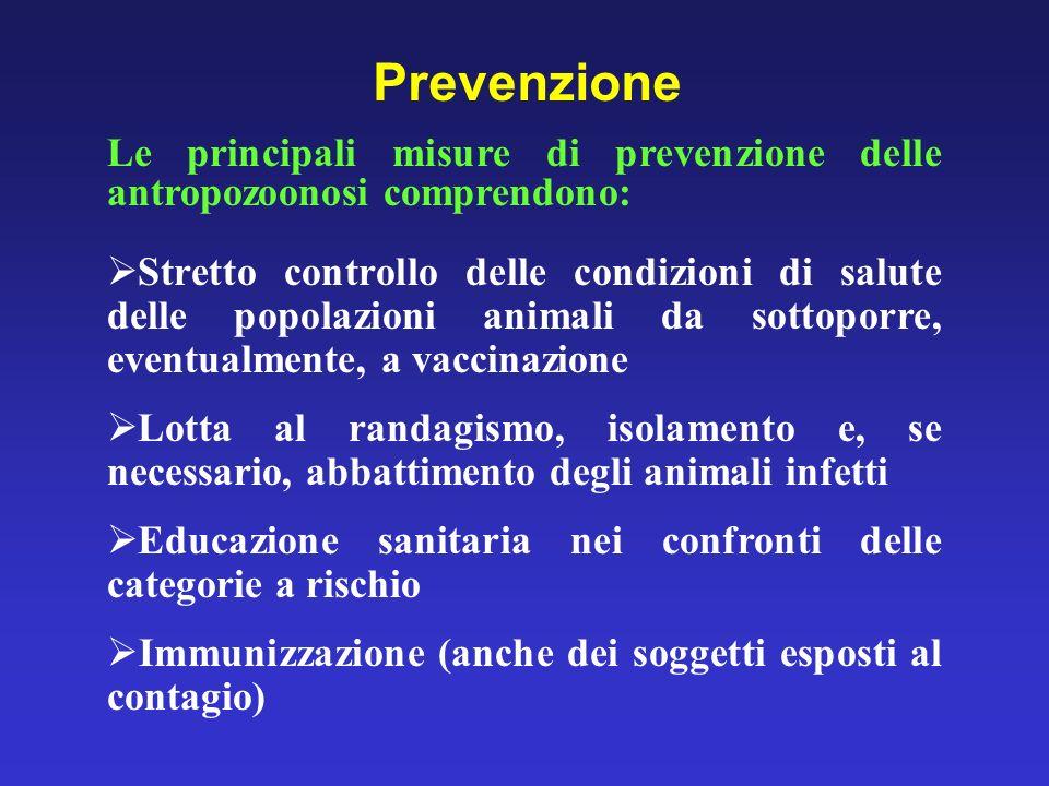 Prevenzione Le principali misure di prevenzione delle antropozoonosi comprendono: