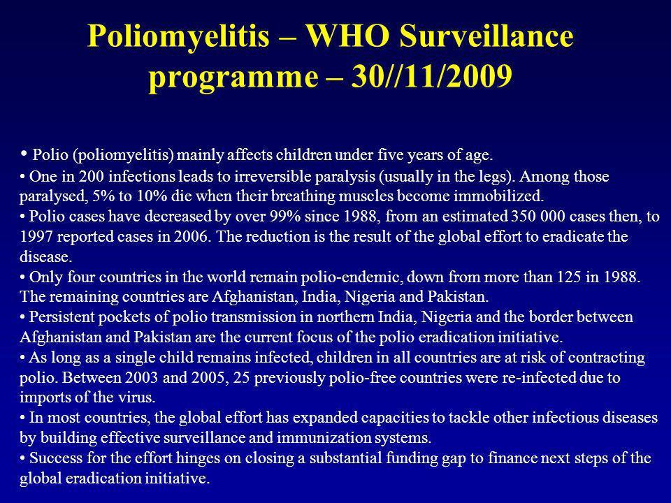 Poliomyelitis – WHO Surveillance programme – 30//11/2009