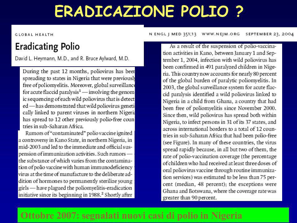ERADICAZIONE POLIO Ottobre 2007: segnalati nuovi casi di polio in Nigeria