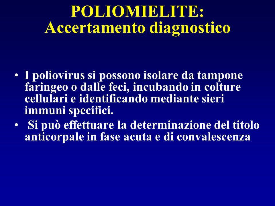 POLIOMIELITE: Accertamento diagnostico