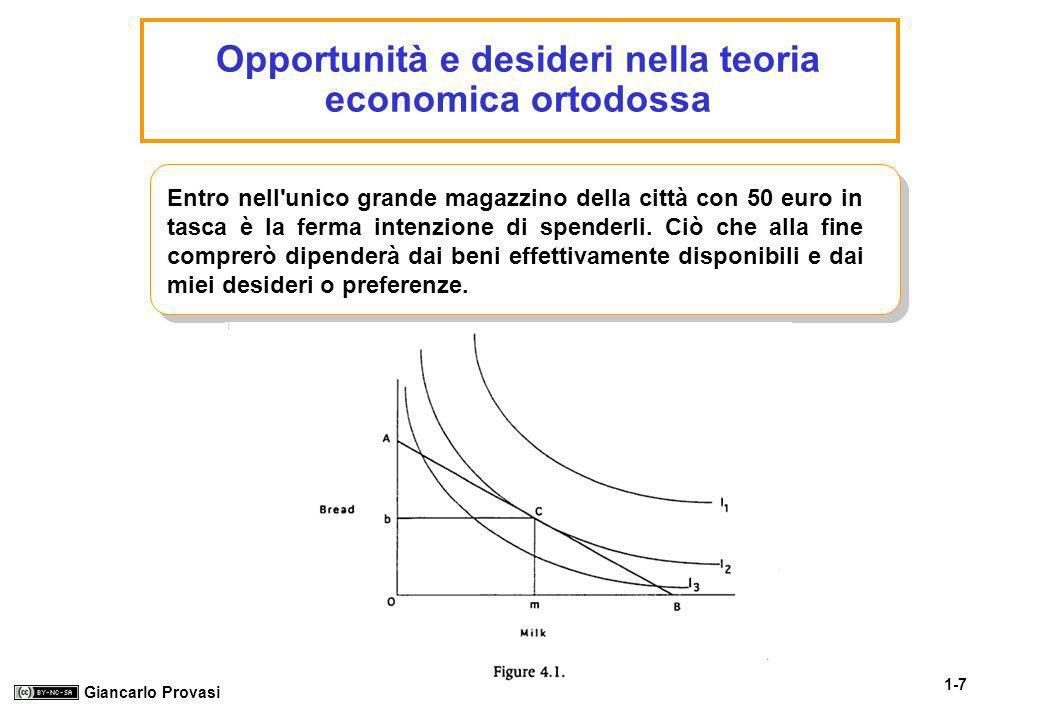 Opportunità e desideri nella teoria economica ortodossa