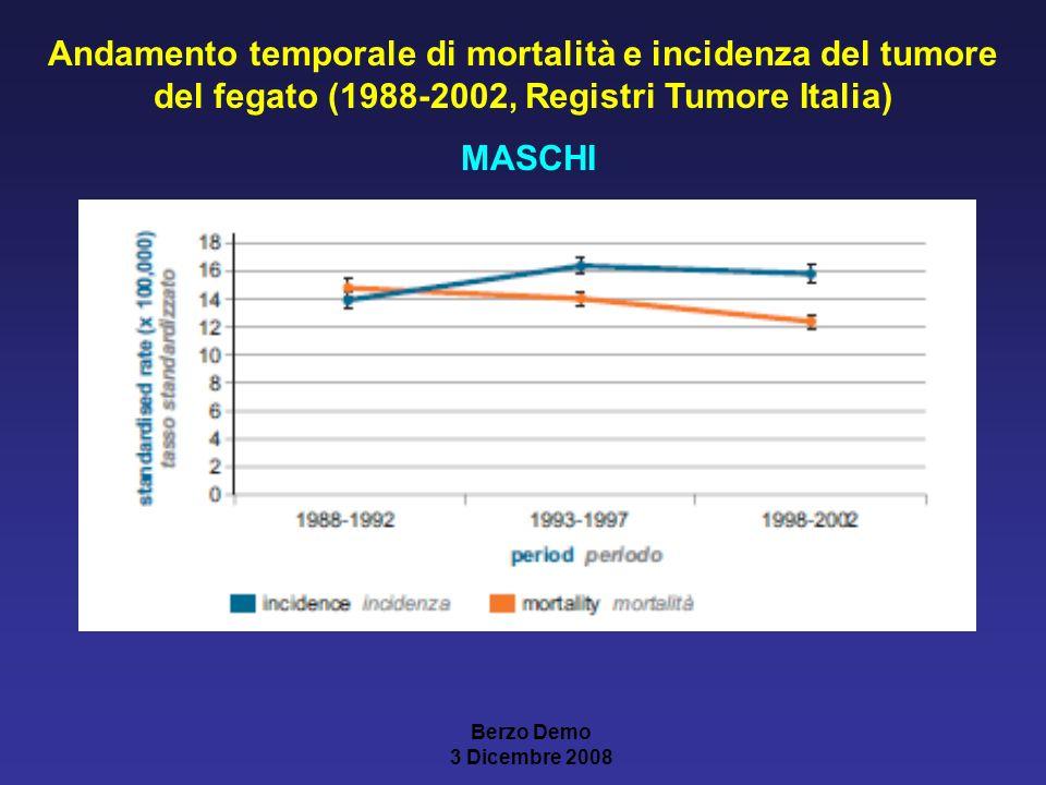 Andamento temporale di mortalità e incidenza del tumore del fegato (1988-2002, Registri Tumore Italia)