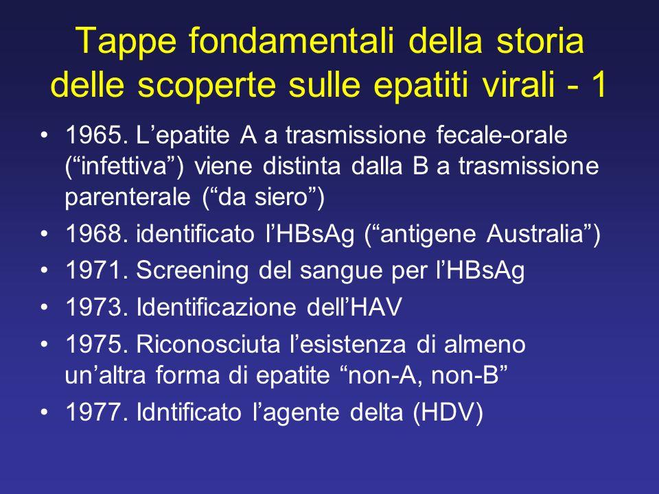 Tappe fondamentali della storia delle scoperte sulle epatiti virali - 1