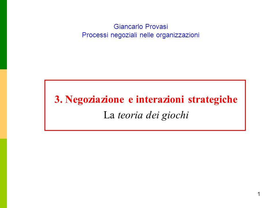 3. Negoziazione e interazioni strategiche La teoria dei giochi