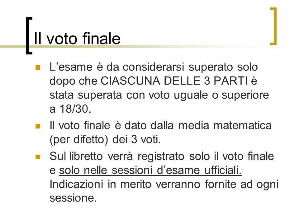 Il voto finale L'esame è da considerarsi superato solo dopo che CIASCUNA DELLE 3 PARTI è stata superata con voto uguale o superiore a 18/30.