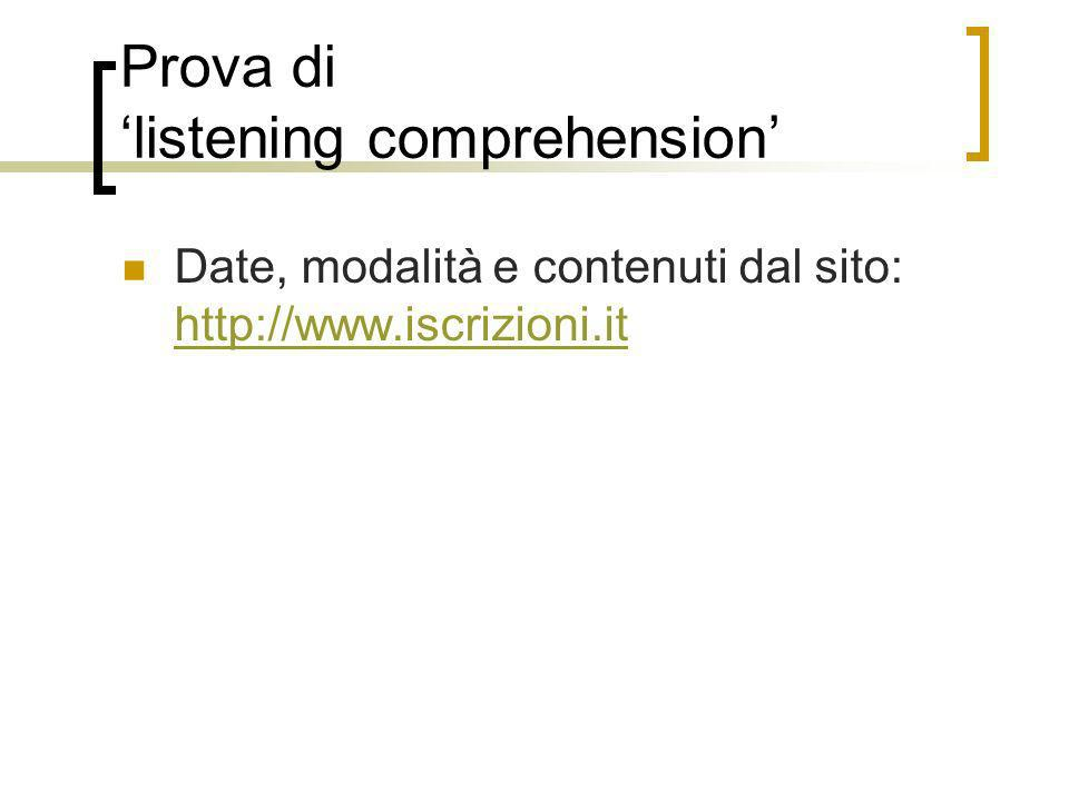 Prova di 'listening comprehension'