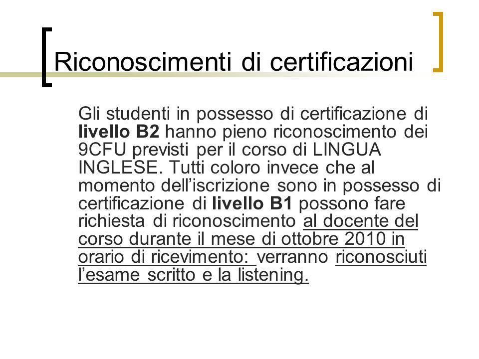 Riconoscimenti di certificazioni