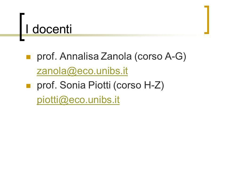 I docenti prof. Annalisa Zanola (corso A-G) zanola@eco.unibs.it