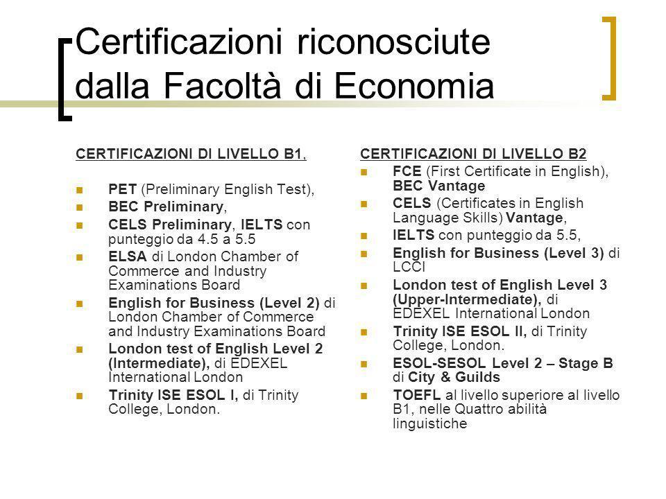 Certificazioni riconosciute dalla Facoltà di Economia
