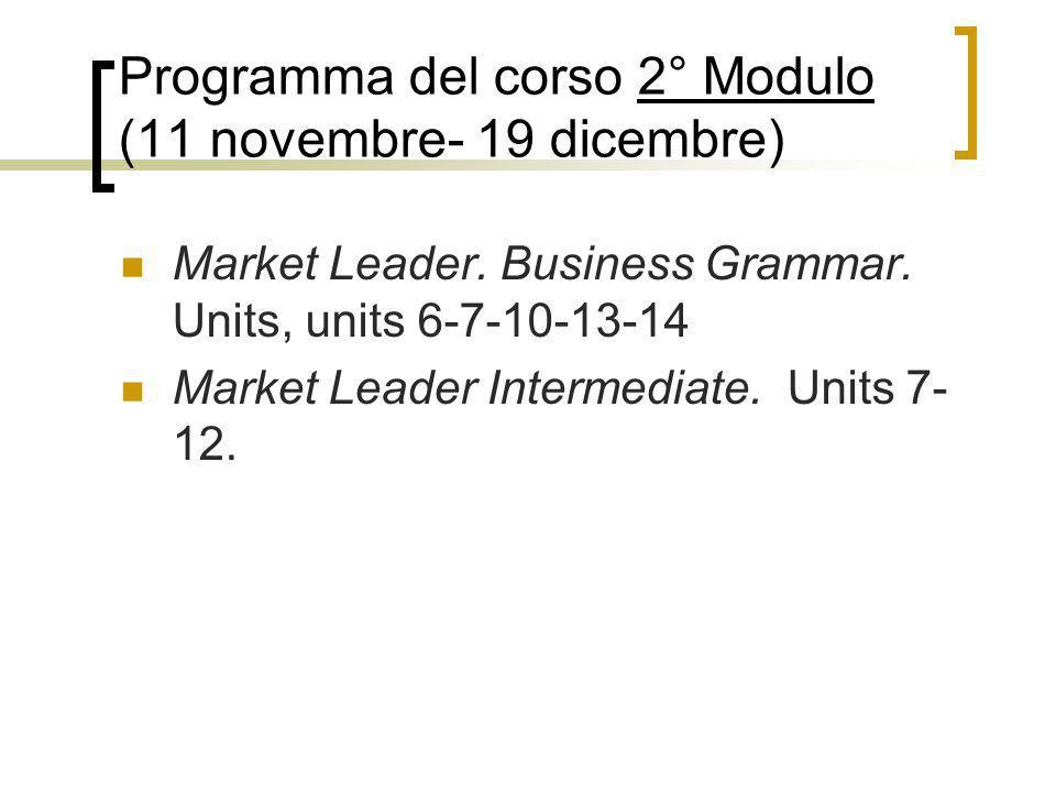 Programma del corso 2° Modulo (11 novembre- 19 dicembre)
