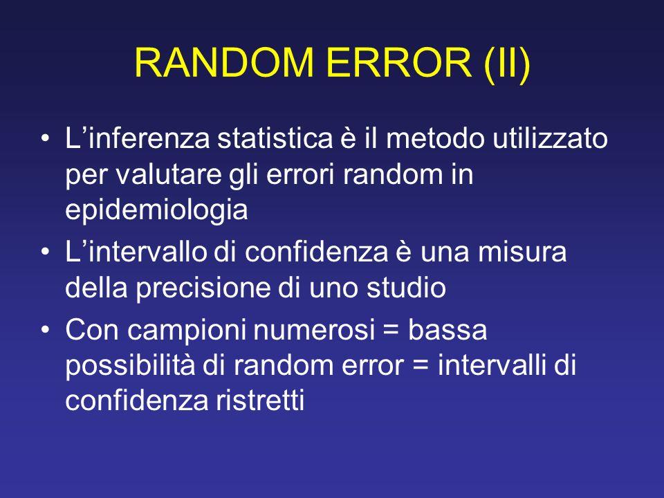 RANDOM ERROR (II) L'inferenza statistica è il metodo utilizzato per valutare gli errori random in epidemiologia.