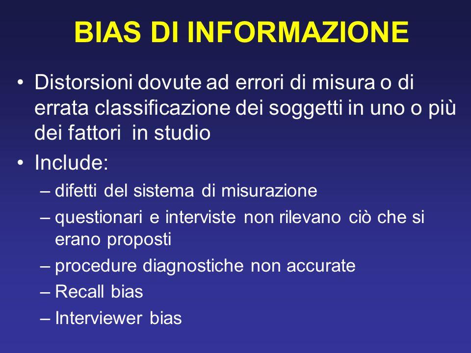 BIAS DI INFORMAZIONE Distorsioni dovute ad errori di misura o di errata classificazione dei soggetti in uno o più dei fattori in studio.