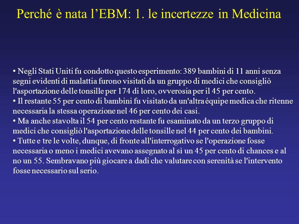 Perché è nata l'EBM: 1. le incertezze in Medicina