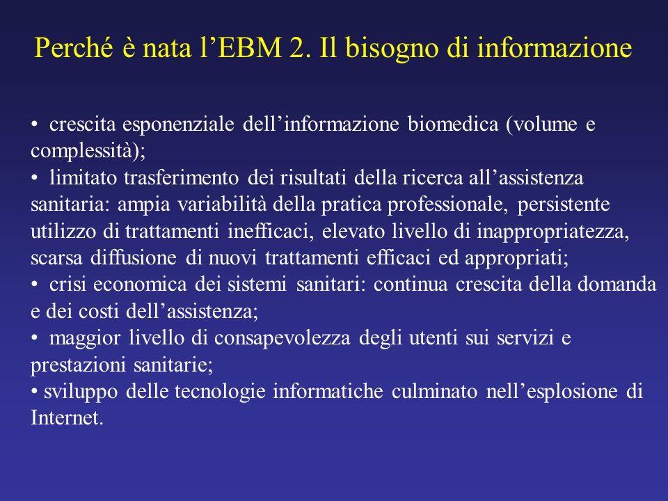 Perché è nata l'EBM 2. Il bisogno di informazione