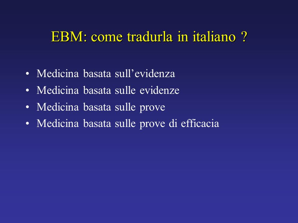 EBM: come tradurla in italiano