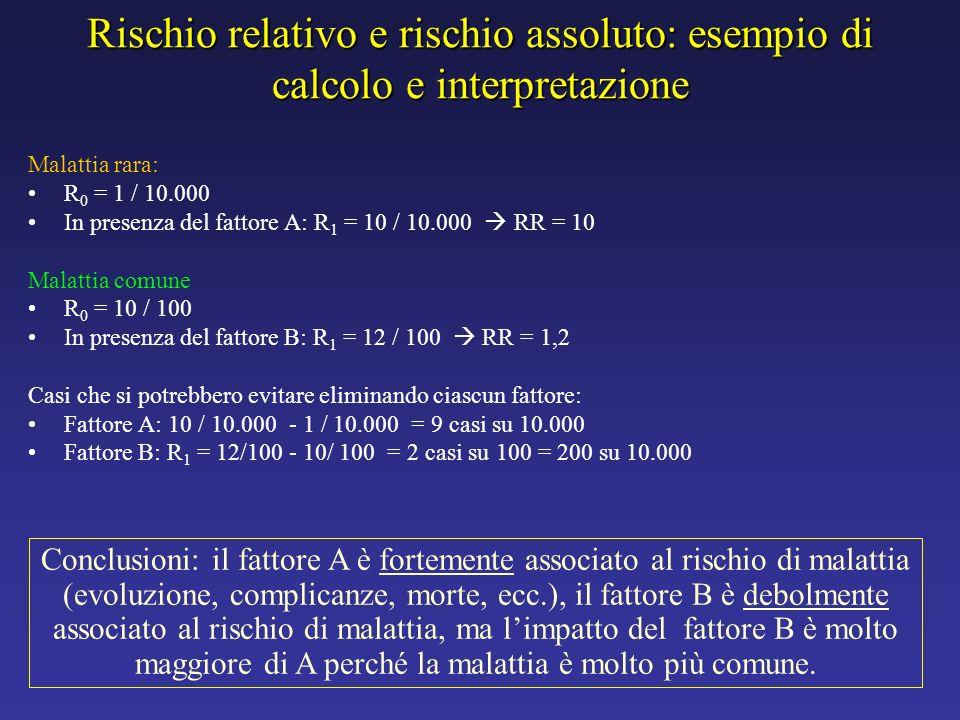 Rischio relativo e rischio assoluto: esempio di calcolo e interpretazione