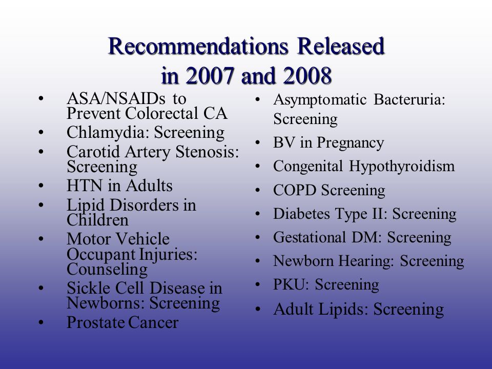 Recommendations Released in 2007 and 2008