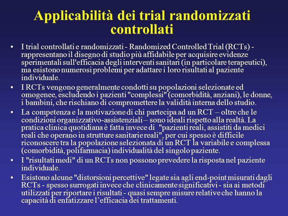 Applicabilità dei trial randomizzati controllati