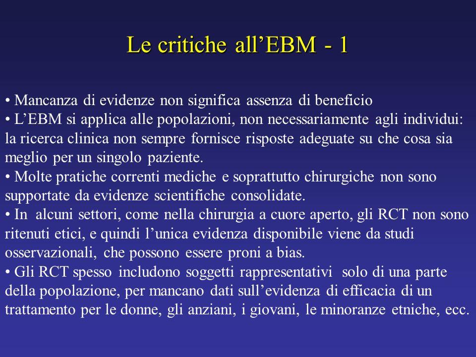 Le critiche all'EBM - 1 Mancanza di evidenze non significa assenza di beneficio.