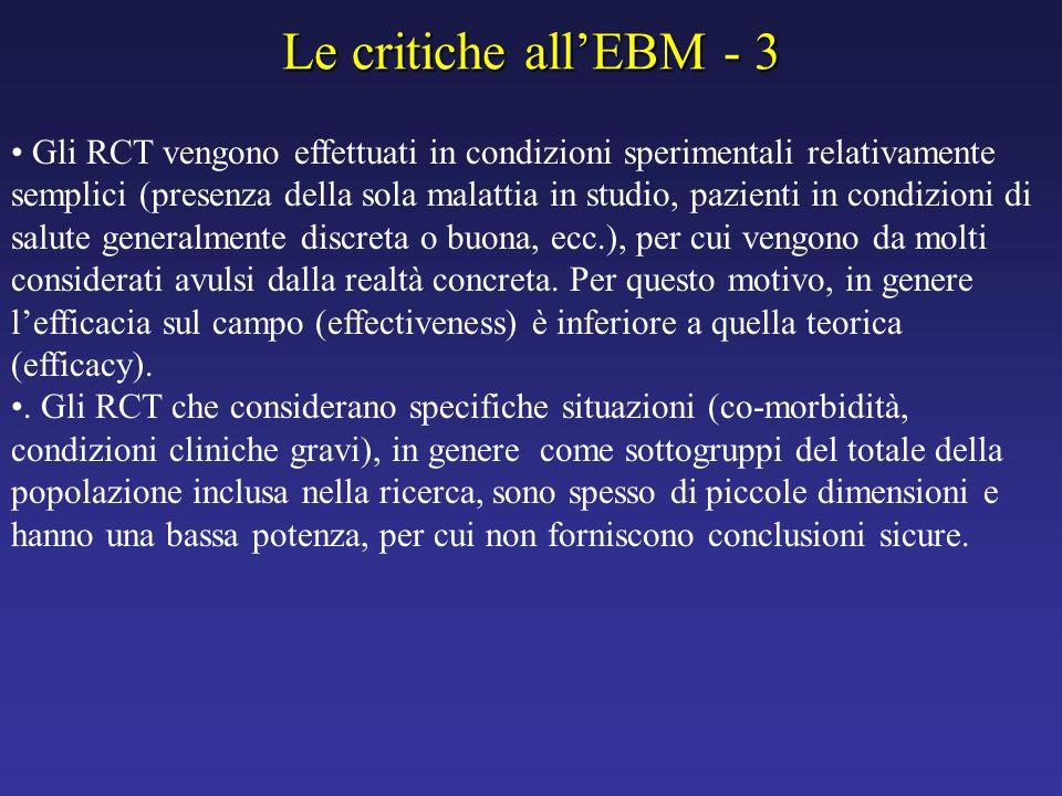 Le critiche all'EBM - 3