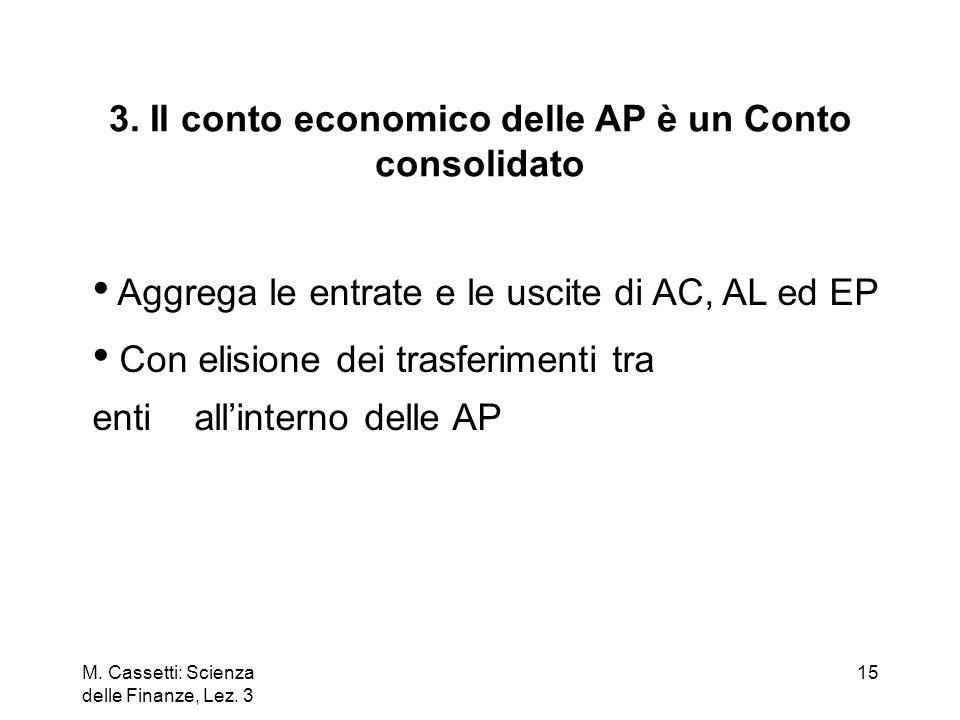 3. Il conto economico delle AP è un Conto consolidato
