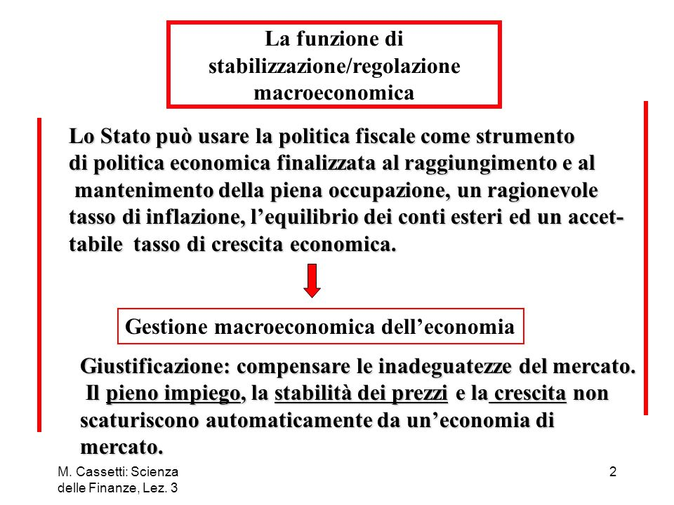 La funzione di stabilizzazione/regolazione macroeconomica