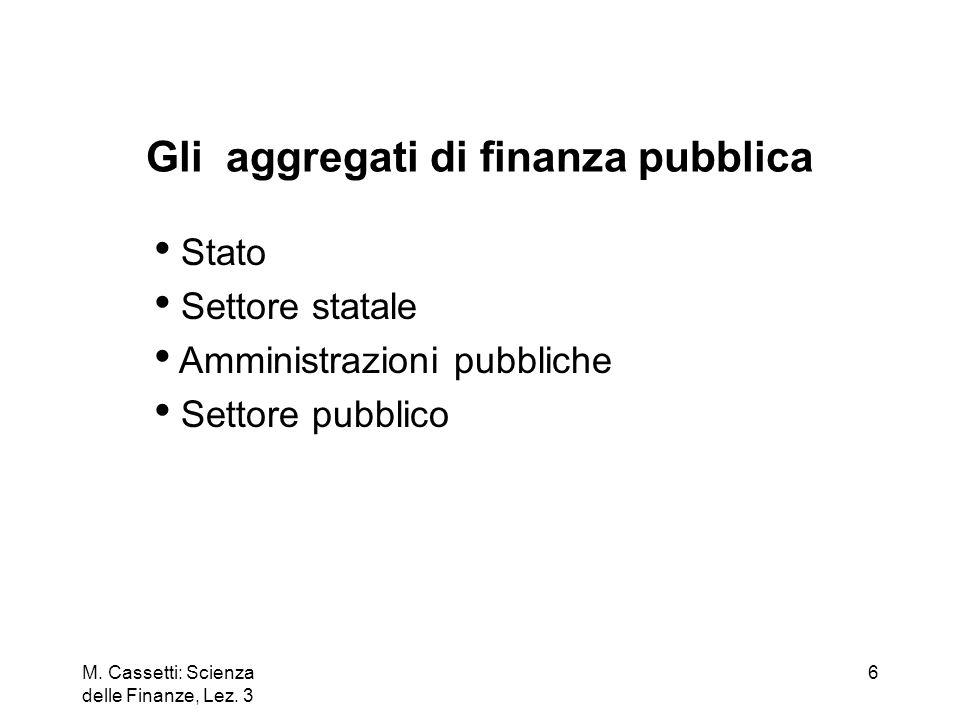 Gli aggregati di finanza pubblica
