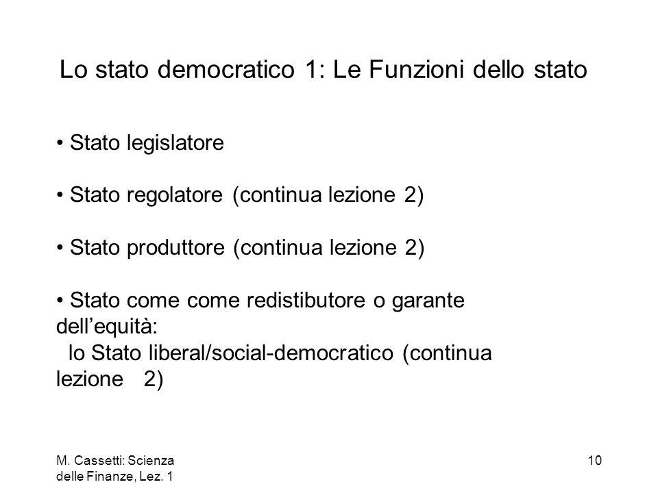 Lo stato democratico 1: Le Funzioni dello stato