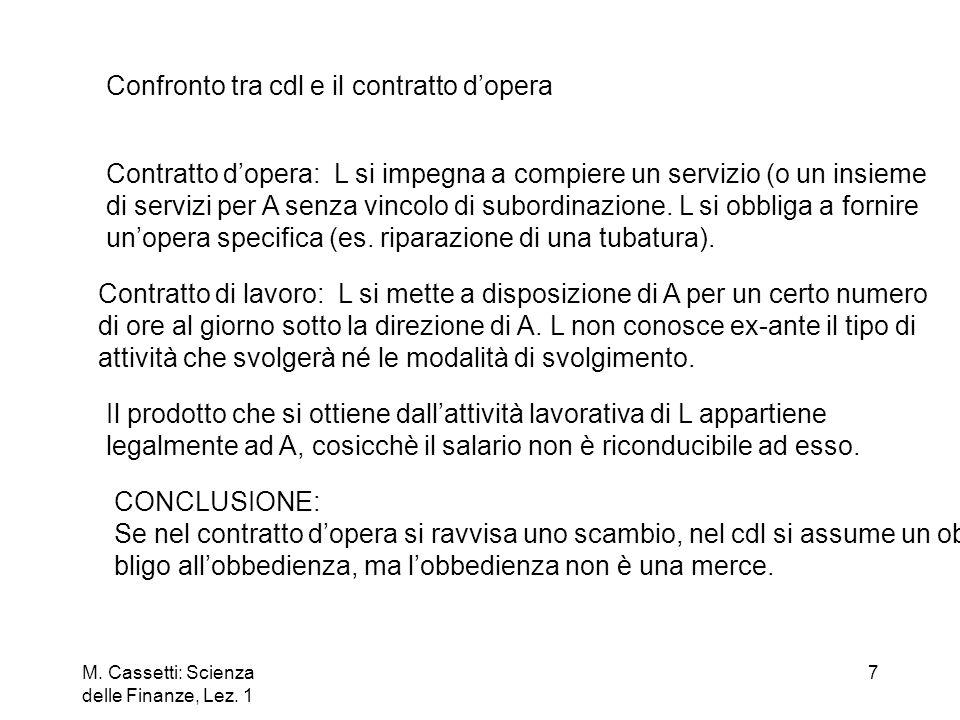 Confronto tra cdl e il contratto d'opera