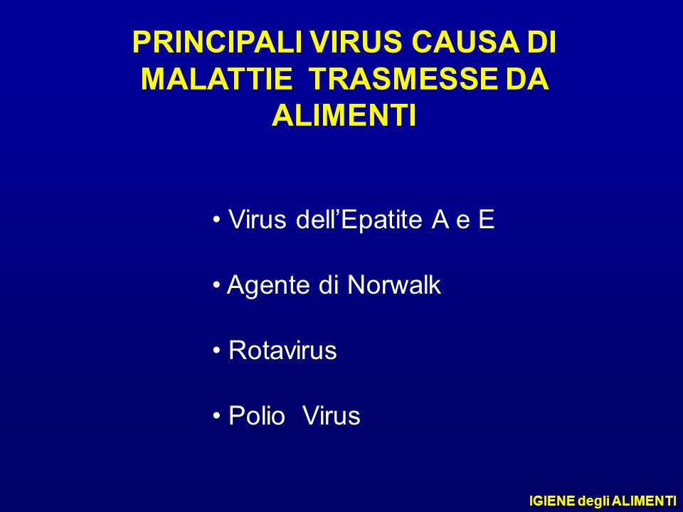 PRINCIPALI VIRUS CAUSA DI MALATTIE TRASMESSE DA ALIMENTI