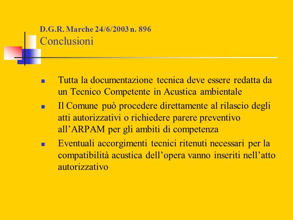 D.G.R. Marche 24/6/2003 n. 896 Conclusioni