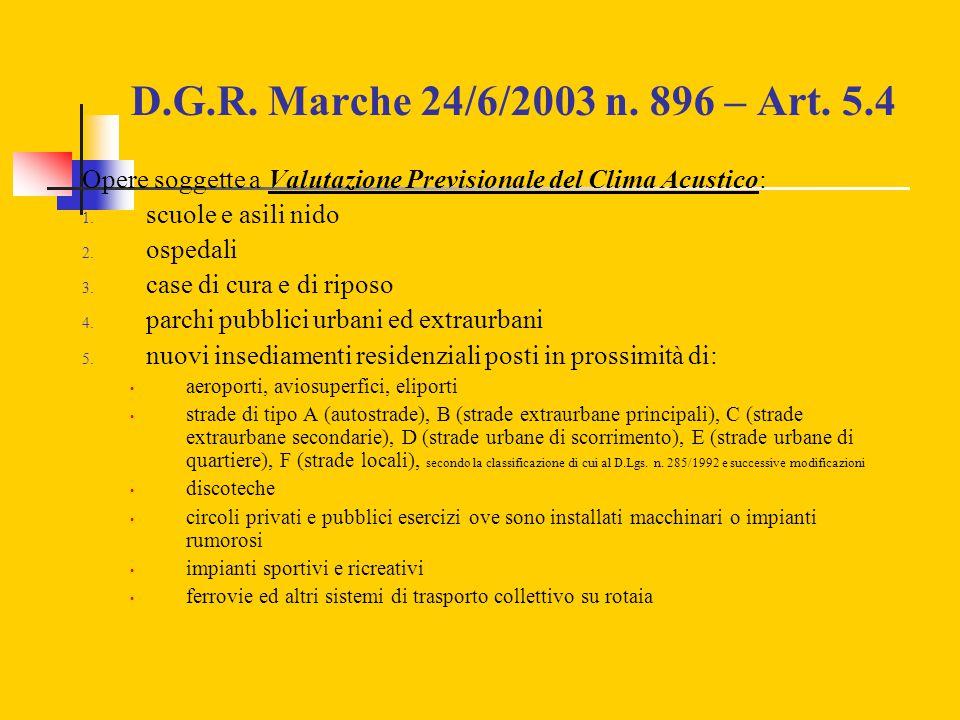D.G.R. Marche 24/6/2003 n. 896 – Art. 5.4 Opere soggette a Valutazione Previsionale del Clima Acustico: