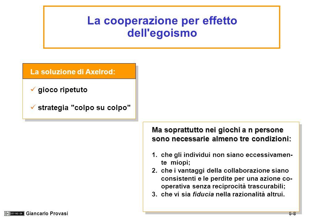 La cooperazione per effetto dell egoismo
