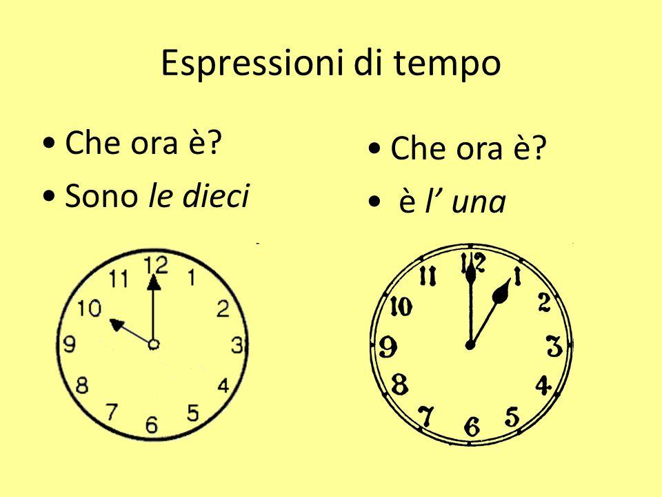 Espressioni di tempo Che ora è Sono le dieci Che ora è è l' una