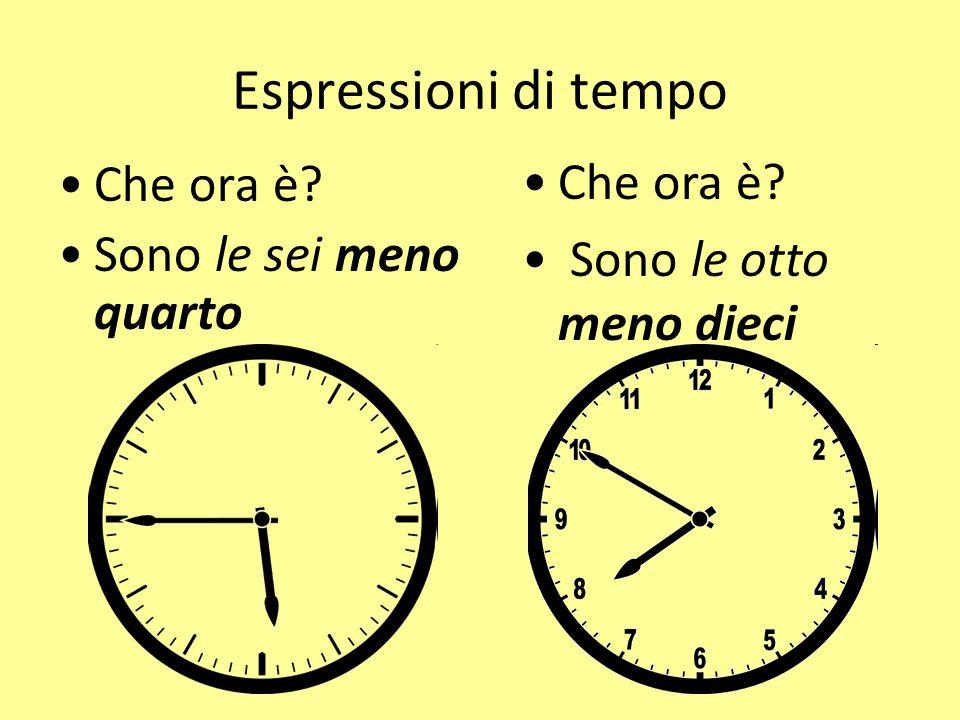 Espressioni di tempo Che ora è Che ora è Sono le otto meno dieci