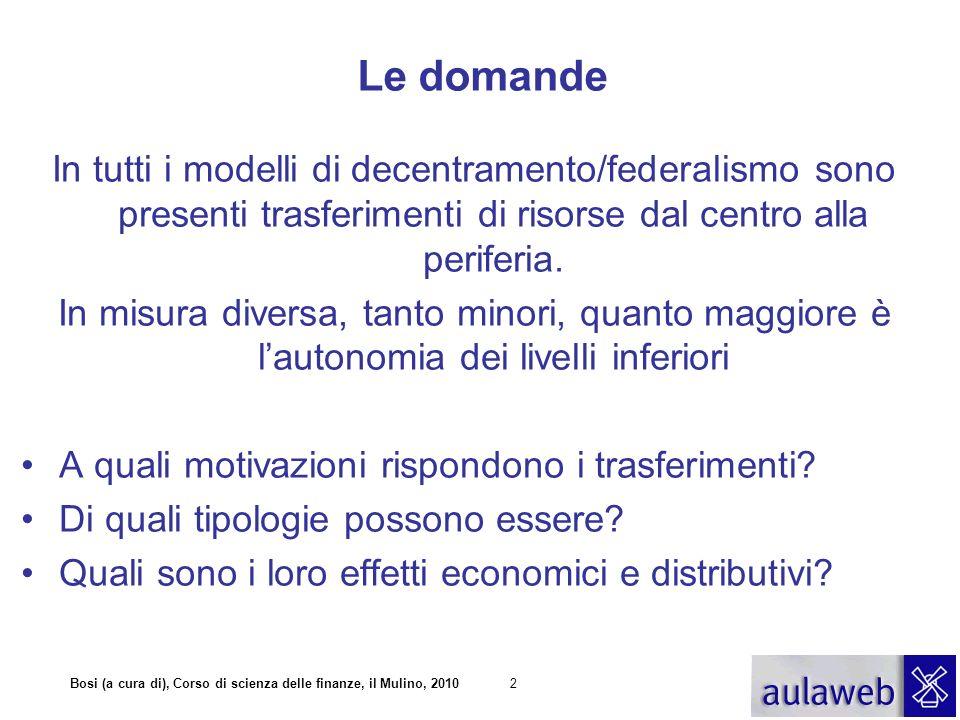Le domande In tutti i modelli di decentramento/federalismo sono presenti trasferimenti di risorse dal centro alla periferia.