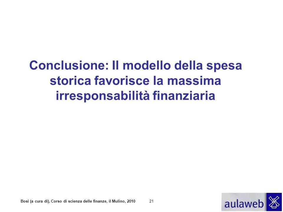 Conclusione: Il modello della spesa storica favorisce la massima irresponsabilità finanziaria