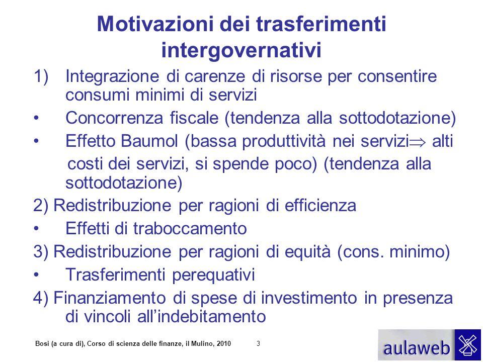 Motivazioni dei trasferimenti intergovernativi