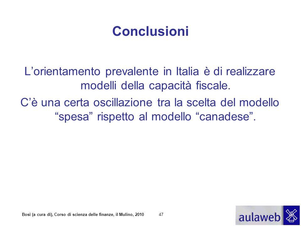 Conclusioni L'orientamento prevalente in Italia è di realizzare modelli della capacità fiscale.
