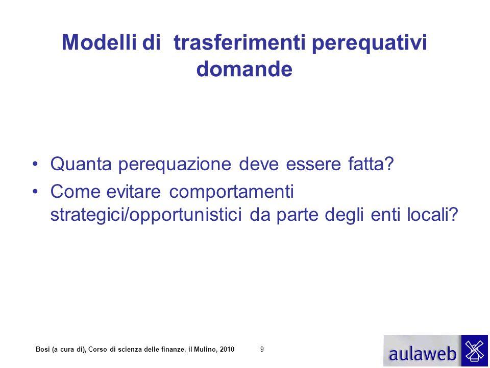 Modelli di trasferimenti perequativi domande